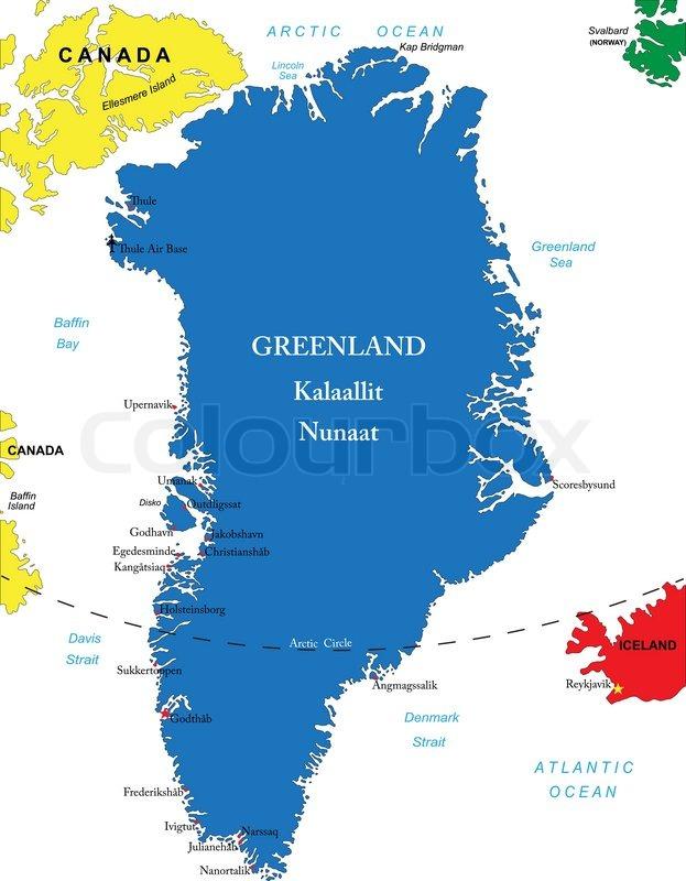 Gronland Karte Stock Vektor Colourbox