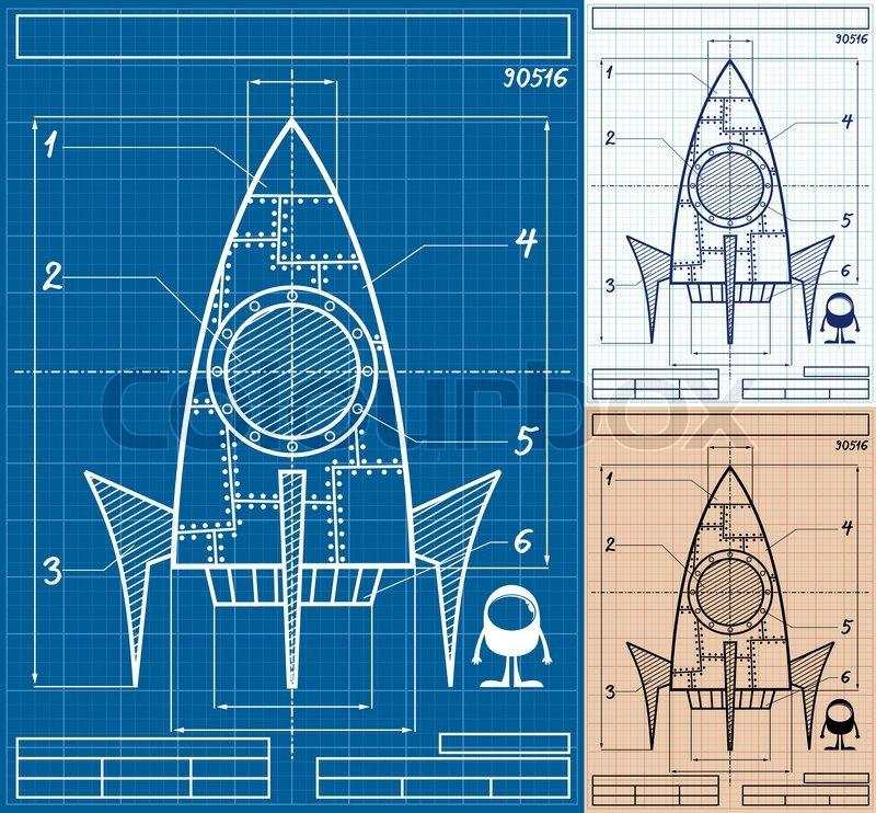 Rocket Blueprint Cartoon | Vektorgrafik | Colourbox
