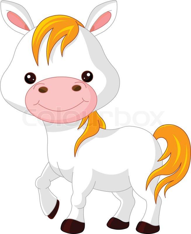 Farm animals. Illustration of cute Horse, vector