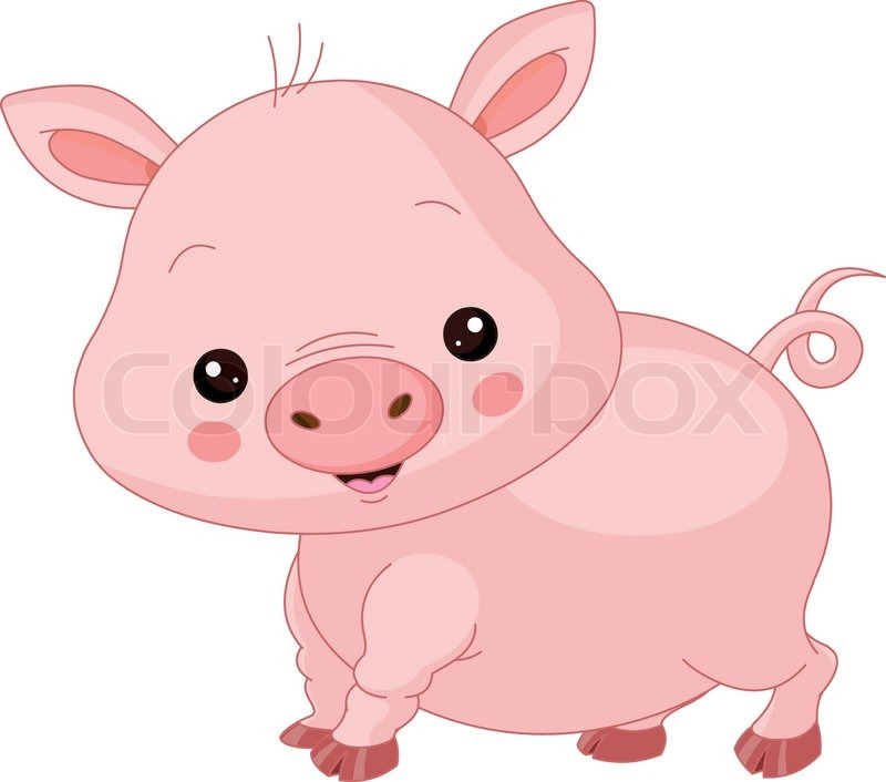 farm animals illustration of cute pig stock vector colourbox