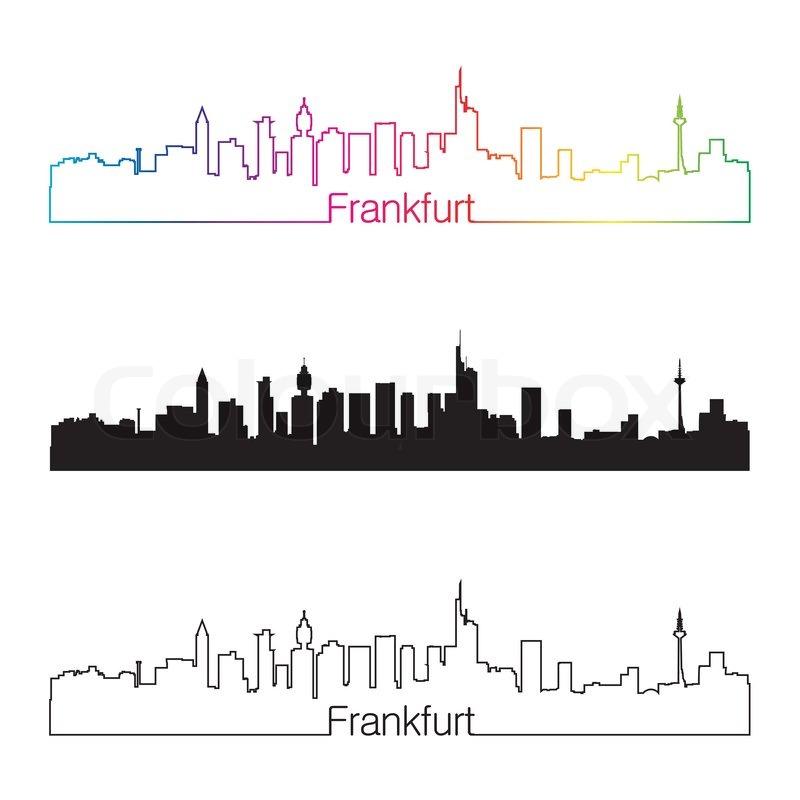 frankfurt skyline linearen stil mit regenbogen. Black Bedroom Furniture Sets. Home Design Ideas