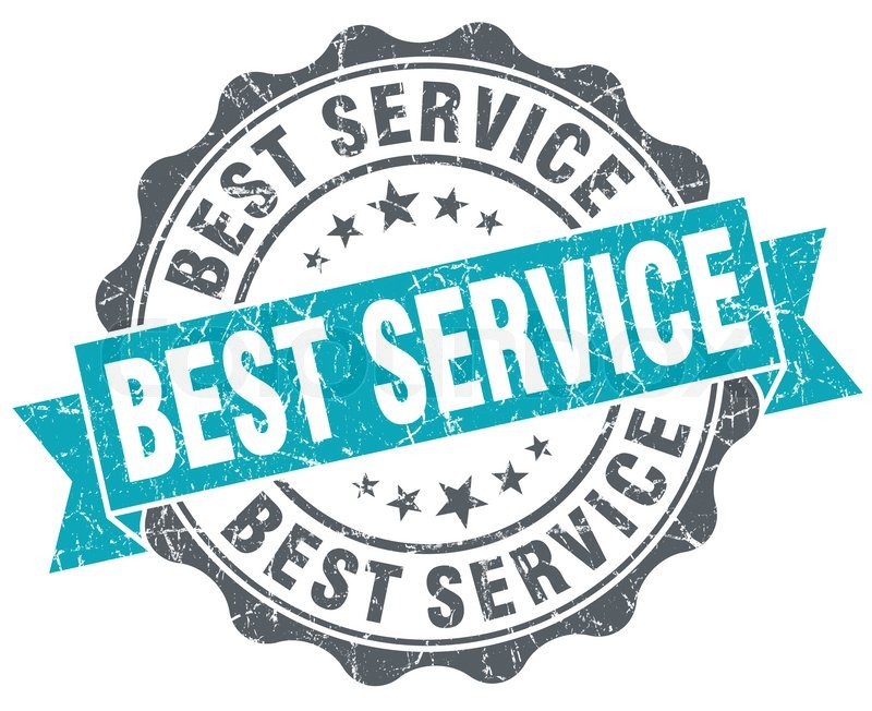 best service blue grunge retro style isolated seal stock photo