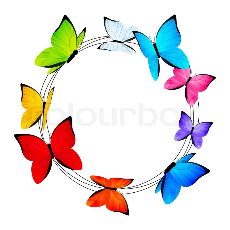 Round frame with color butterflies | Stock Vector | Colourbox