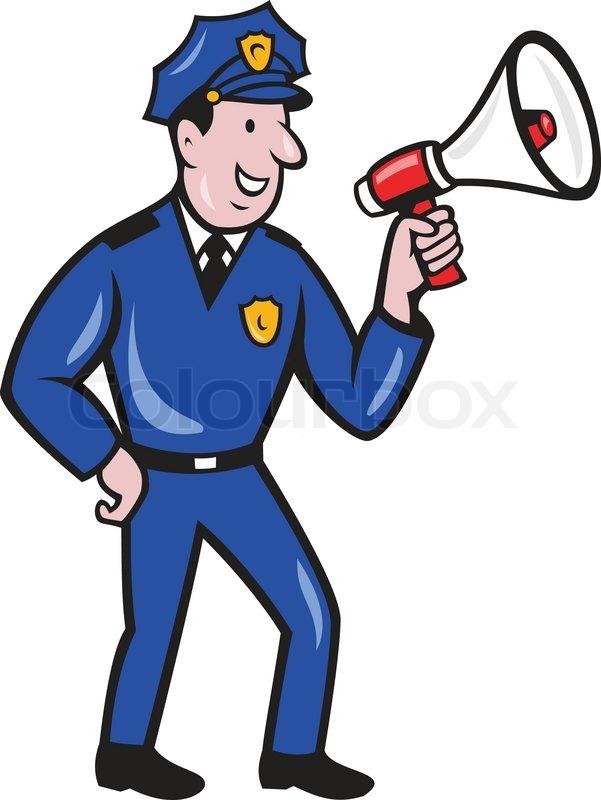 Polizisten schreien Schalltrichter ... | Stock-Vektor ...