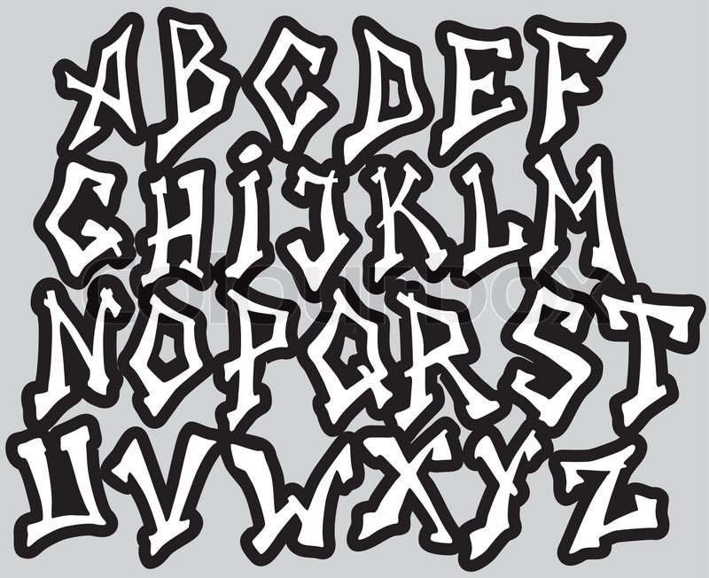 Graffiti font alphabet different letters vector for Mobel 9 buchstaben