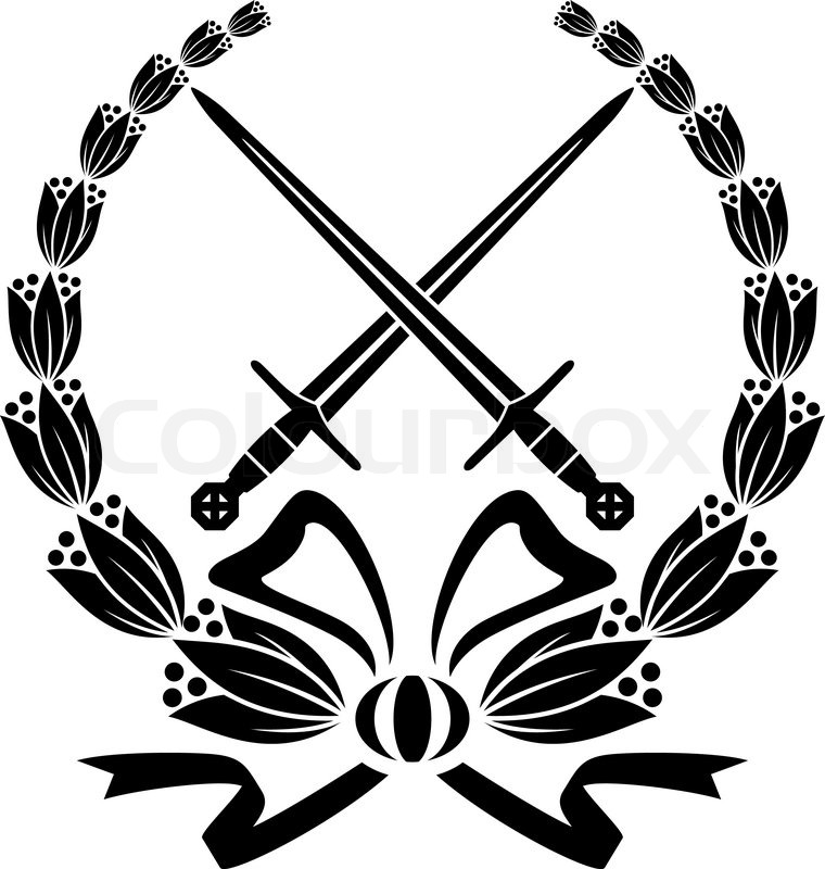 Real Crossed Swords Wreath With Crossed Swords