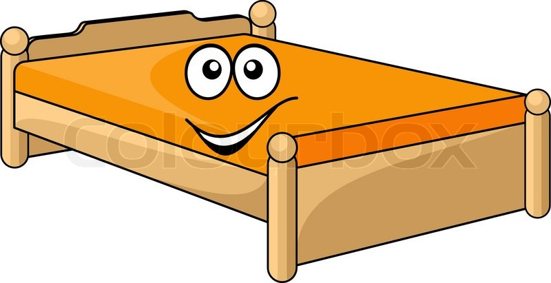 Comfortable Cartoon Bed With A Colorful Orange Mattress