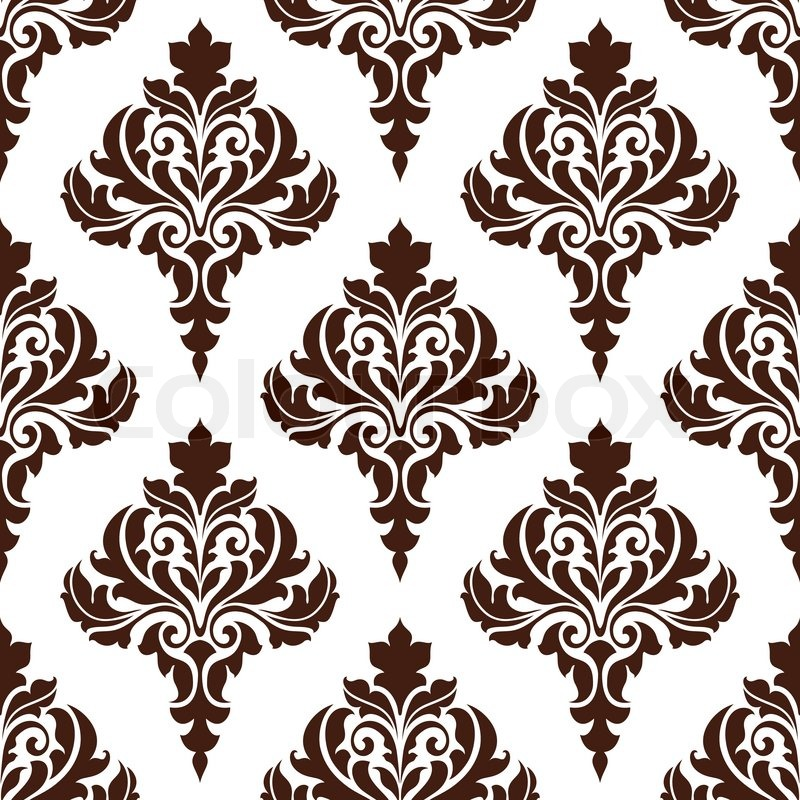 Brown damask seamless pattern background with floral ...