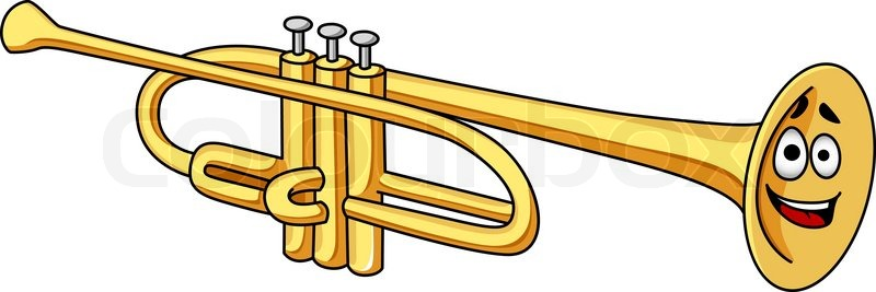 Cute Cartoon Brass Trumpet Musical Instrument With A Happy