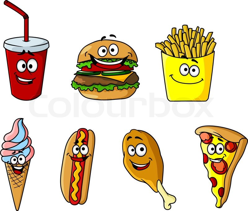 Set of happy cartoon takeaway food icons with a soda ...