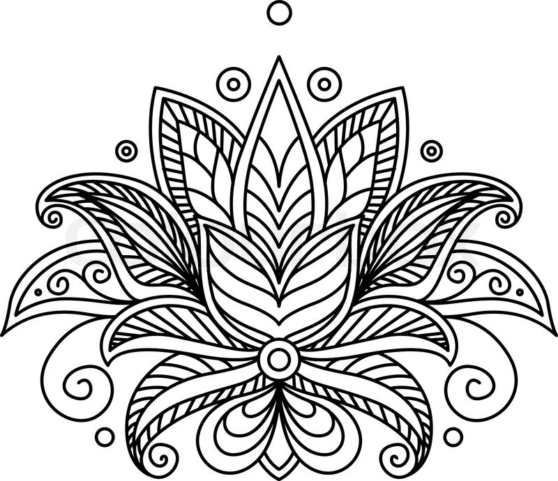 Line Art Box Designs : Turkish or persian paisley floral stock vector
