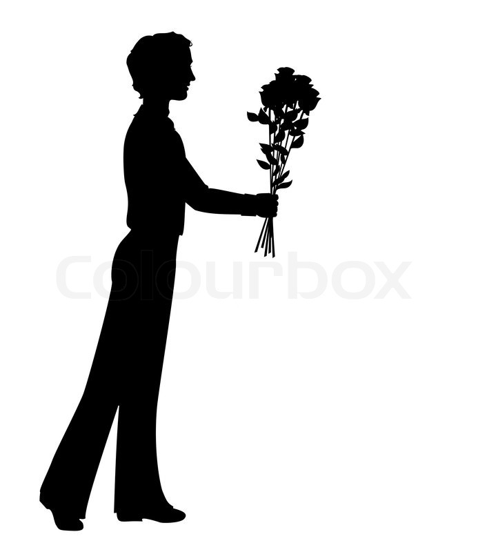 Silhouette Of A Man Holding Bunch Of Flowers. Hand Drawn