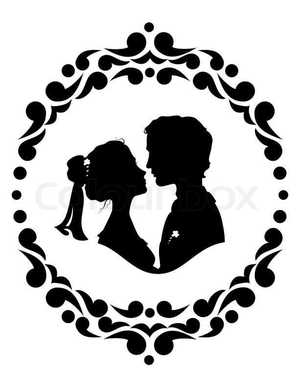 Silhouettes of bride and groom. Black against white ...