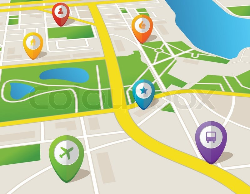 Vector City Map With Gps Icons Illustration Stock Vector