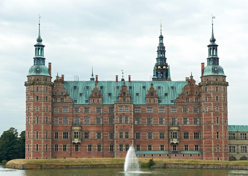 Frederiksborg Castle located in Hillerød, Denmark, stock photo