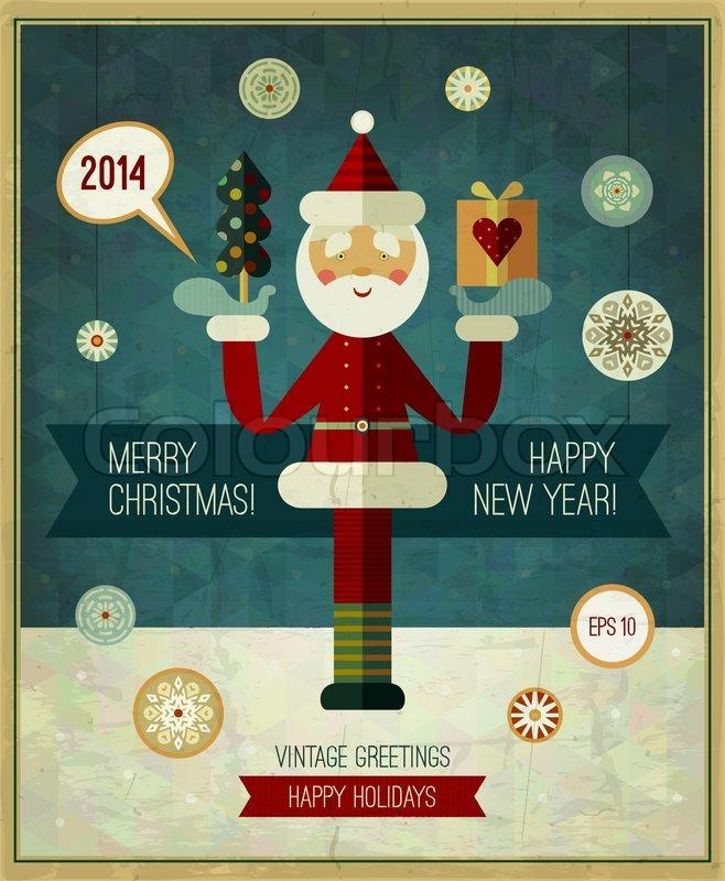 Vector Vintage Weihnachten-Design. Christmas retro Grußkarte. Frohe ...