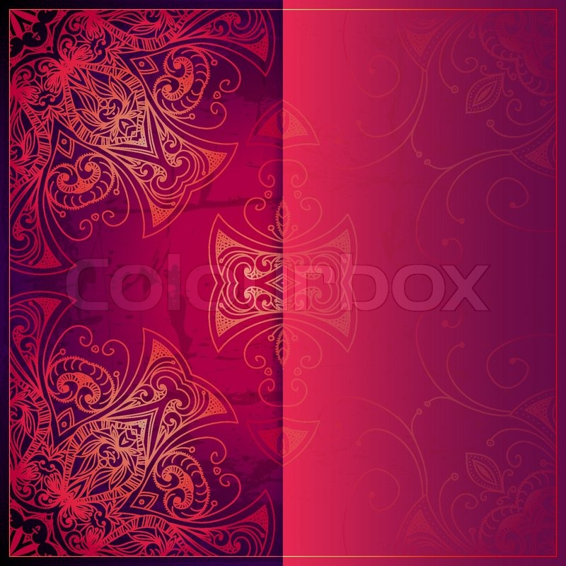 Red Book Cover Pattern : Abstract vector circle floral ornament lace pattern