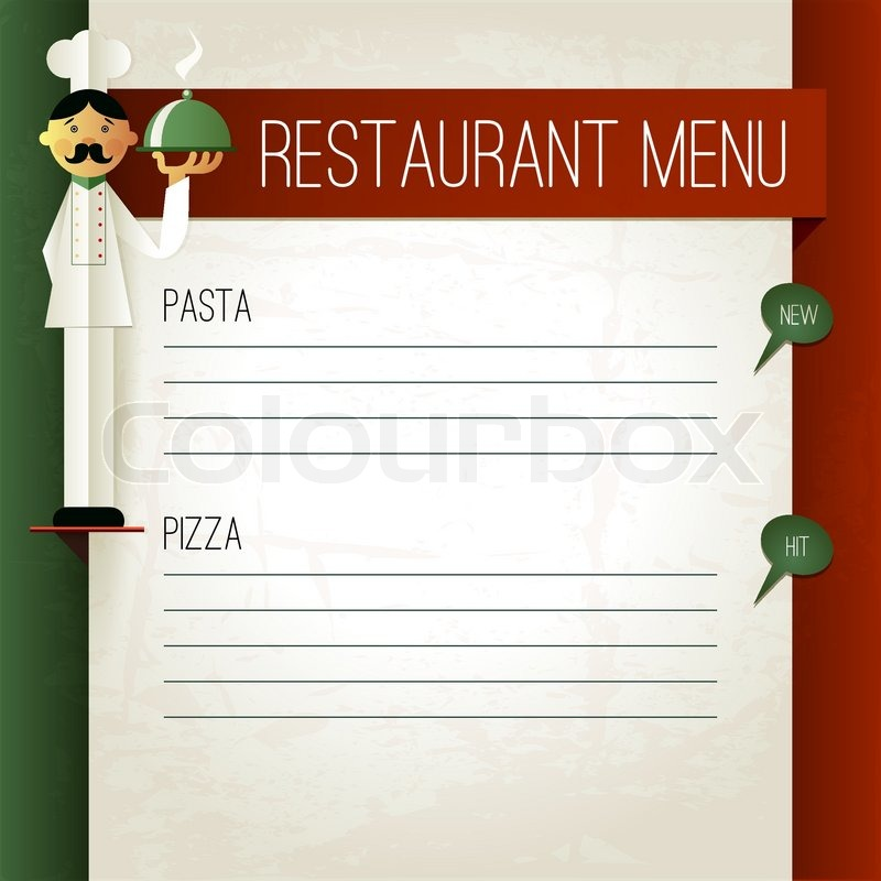 vector italian menu with chef and plate menu template in italian