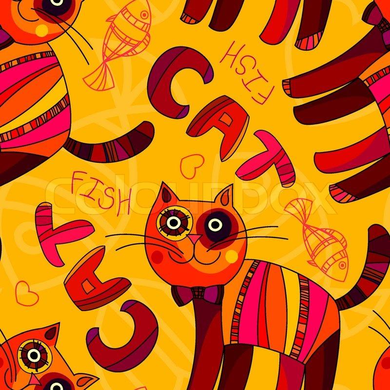 Vektor, Nahtlose Katze Und Fisch Muster In Den Farben Gelb, Orange Und  Pink. Einsetzbar Für Kinder Buch Cover Design, Tapete, Textilien, Karten  Und Anderen ...