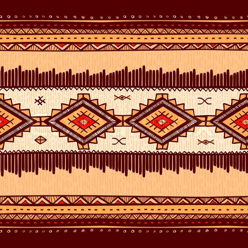 Nahtlose abstrakte handgezeichnete Ethno Muster, Stammes