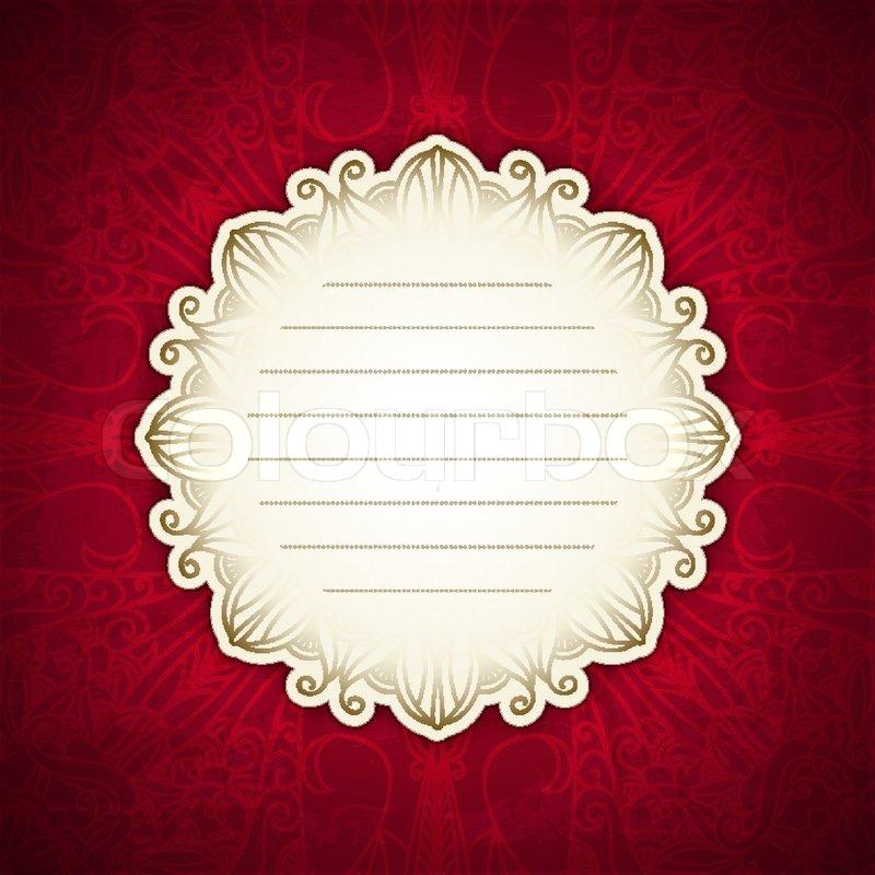 Rot-Vorlage mit white-Label. Vintage-Design. indische Motiv. Luxus ...