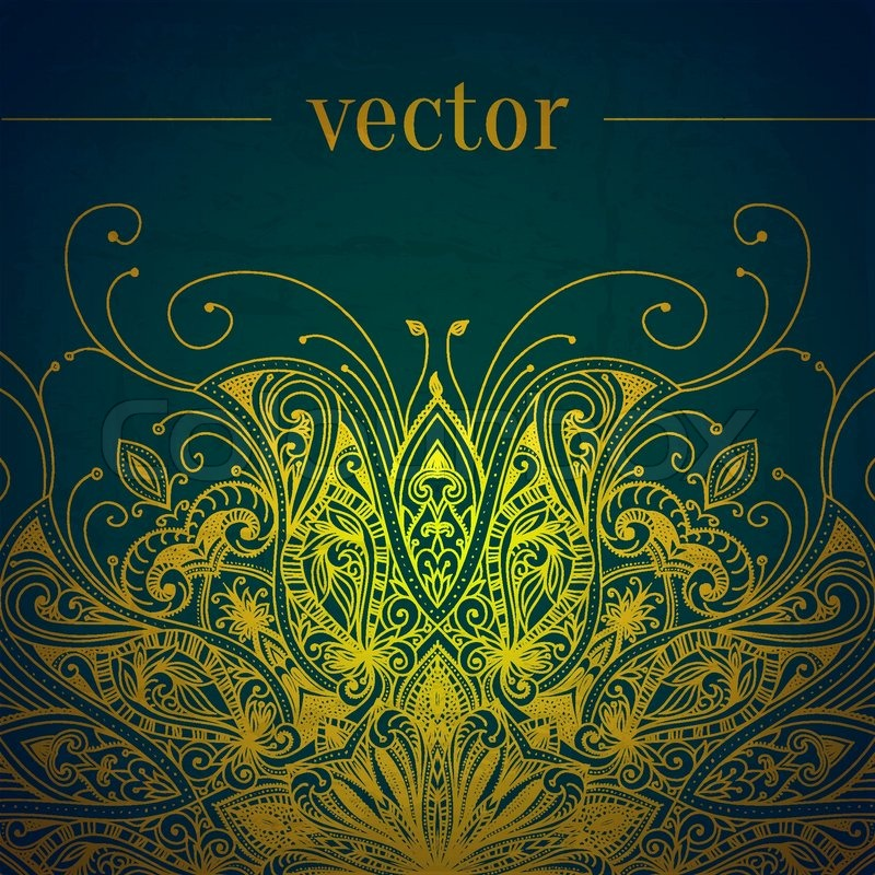 Green Abstract Vector Background Lace Stock Vector