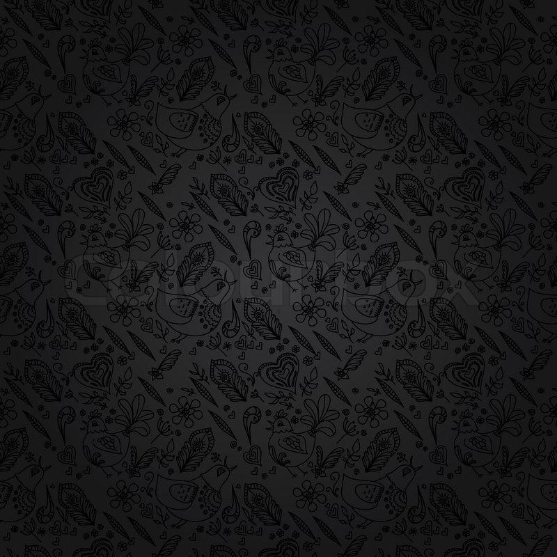schwarzer hintergrund oder grauen hintergrund schwarz nahtlose florales muster vektor. Black Bedroom Furniture Sets. Home Design Ideas