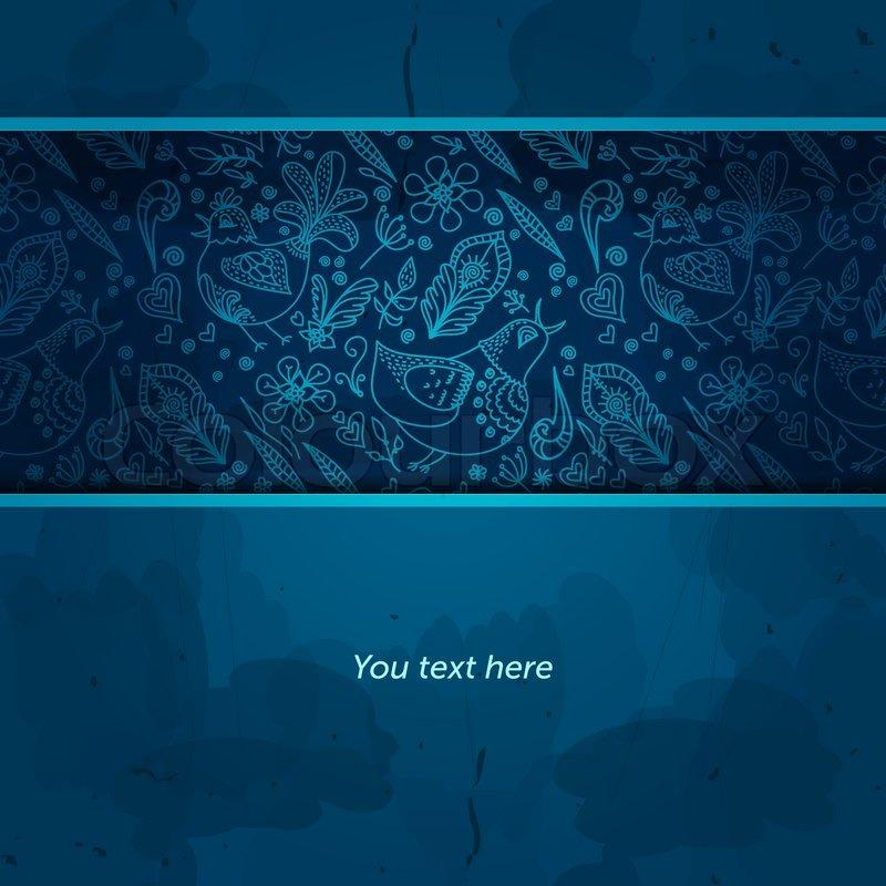Grunge Design Template Blue Background Invitation Design