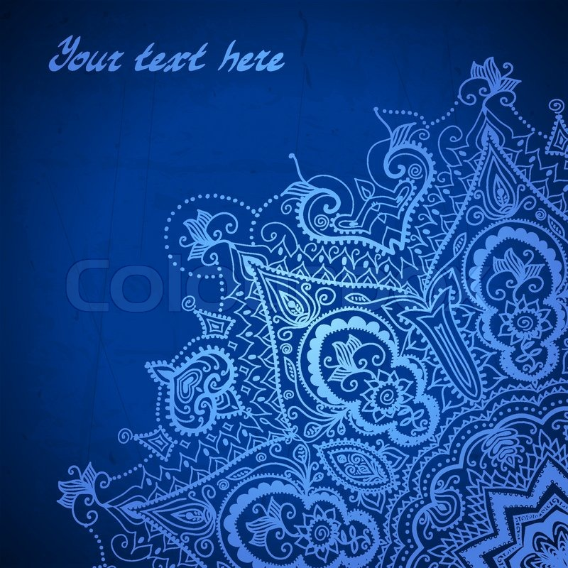 Blue abstract vector background. Lace border frame for ...