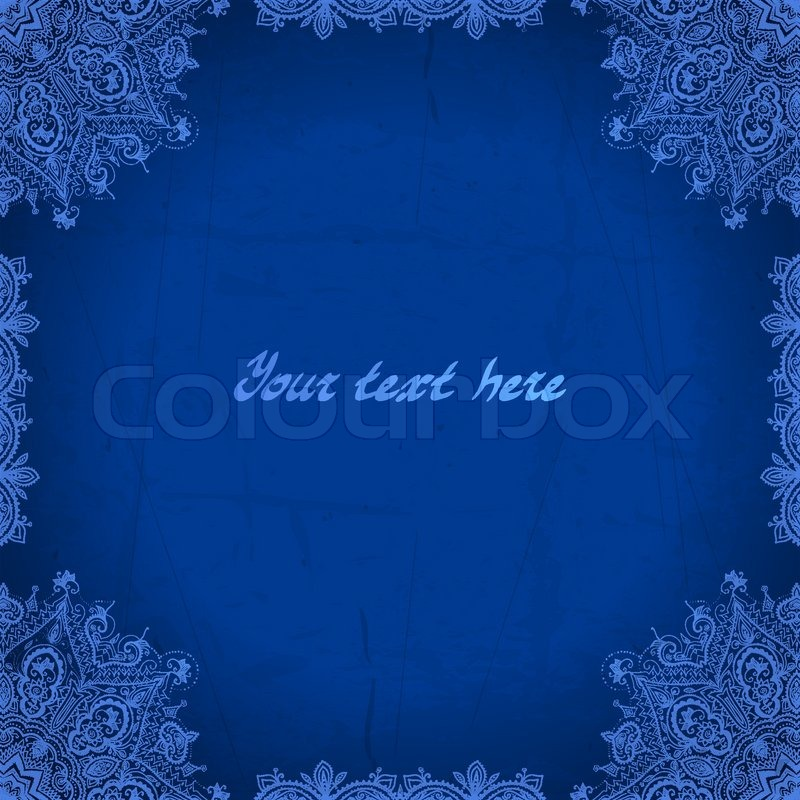 Blue Abstract Vector Background Lace Border Frame For Your Design