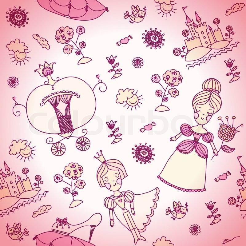 Vector Seamless Background For Kids Pink Can Be Used Wallpaper Web Page Textile Girly Or