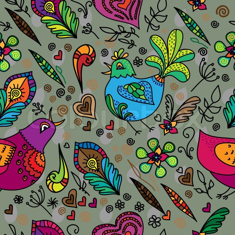 Wallpaper With Birds seamless flower pattern with bird and hearts. vector background