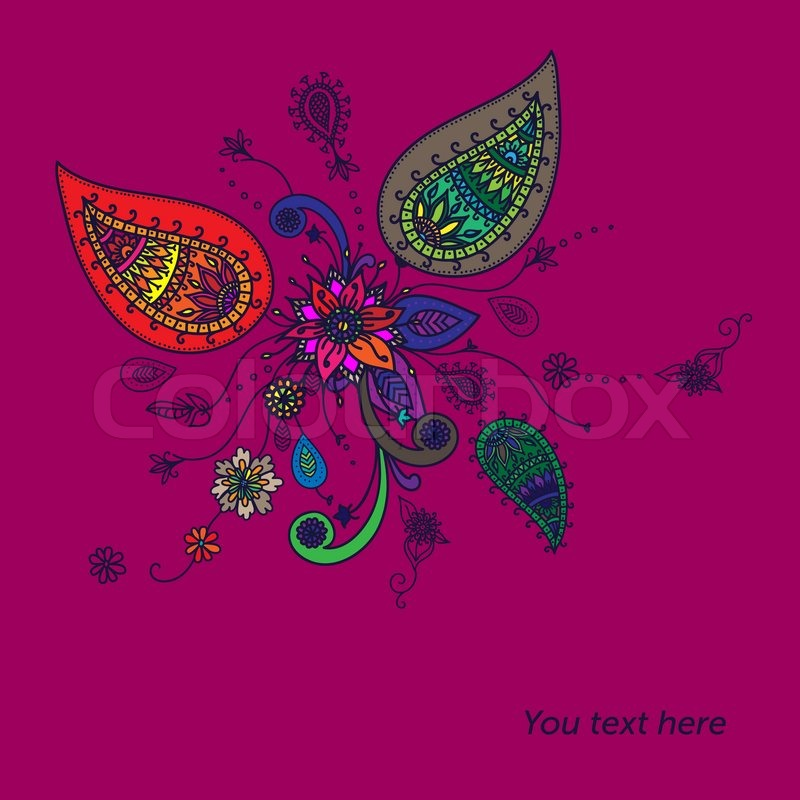 Background with traditional Asian elements Paisley Elegant floral