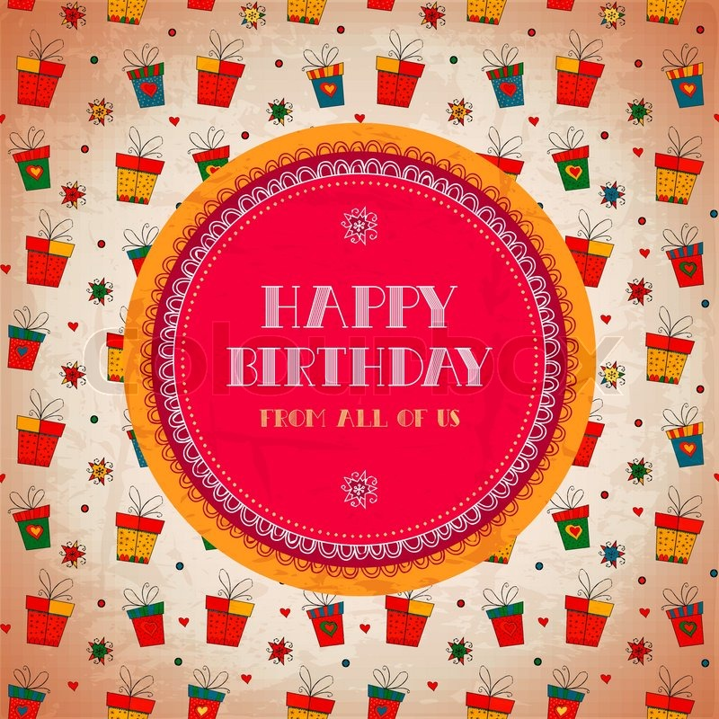 Vintage Card Happy Birthday Vector Illustration Banner Design