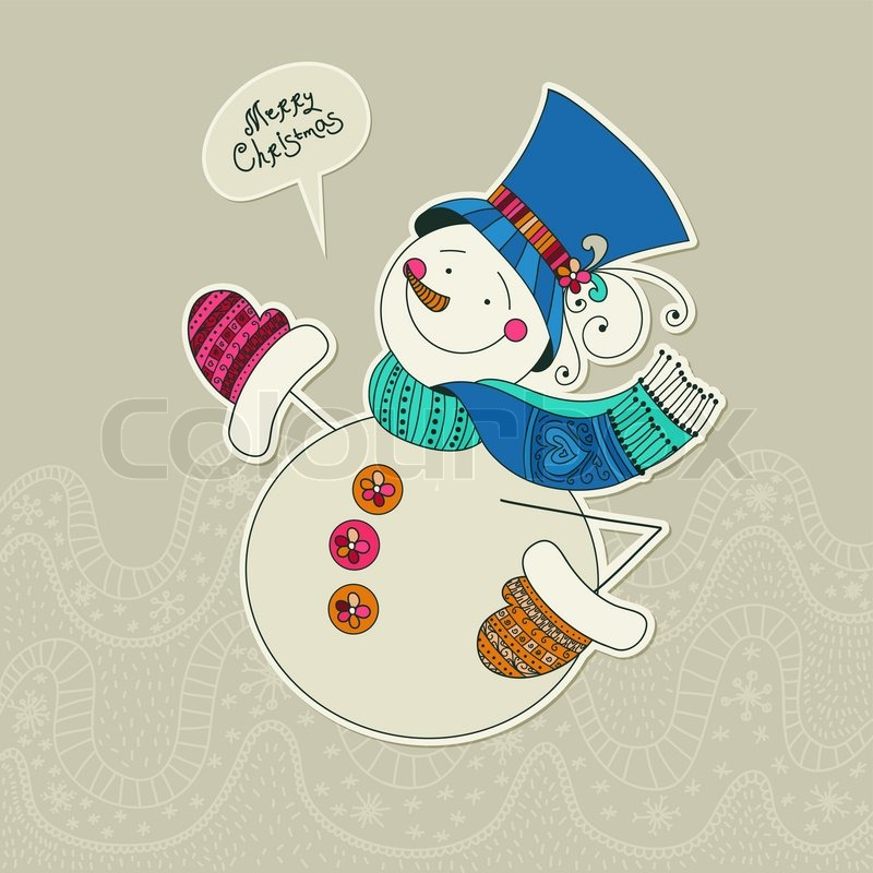 Funny snowman card. Merry Christmas card. Design template ...