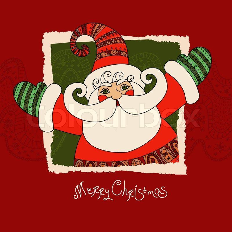 Merry Christmas vector card with Santa Claus. Cute and happy Santa ...