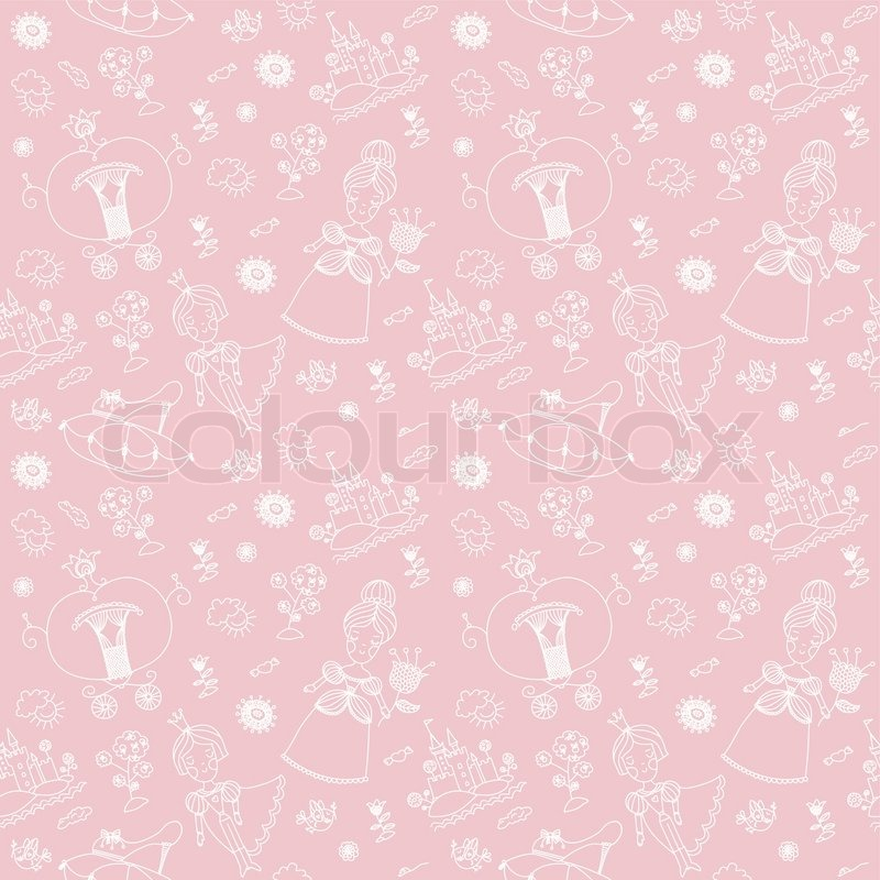 Seamless pink pattern. Cinderella. Hand drawn background. Template for ...