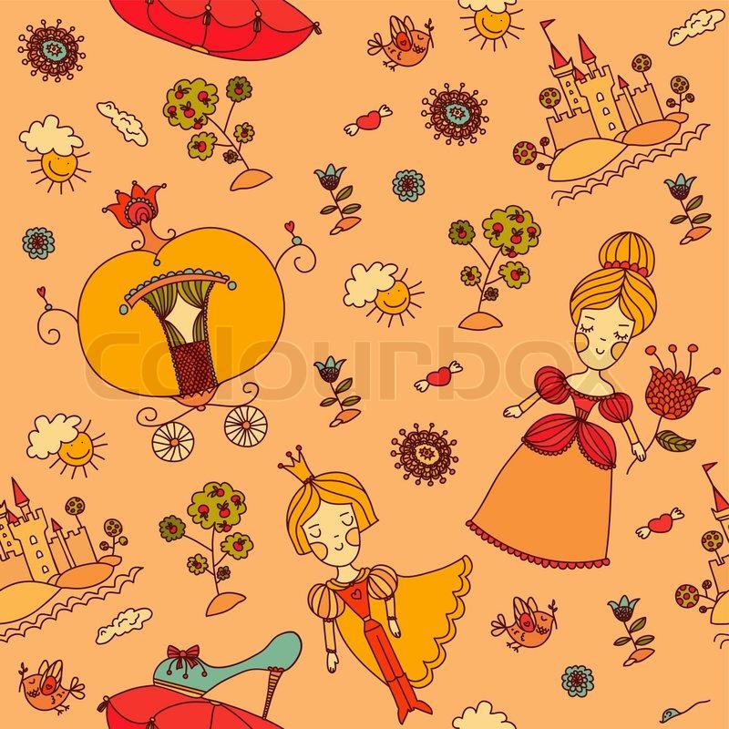 Nahtlose Muster. Cinderella. Hand gezeichnete Hintergrund mit vielen ...
