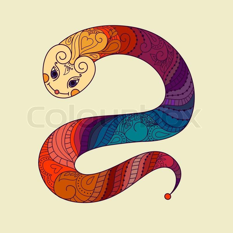 Frohes neues Jahr. 2013. Jahr Schlange. Vektor. Chinesisches ...
