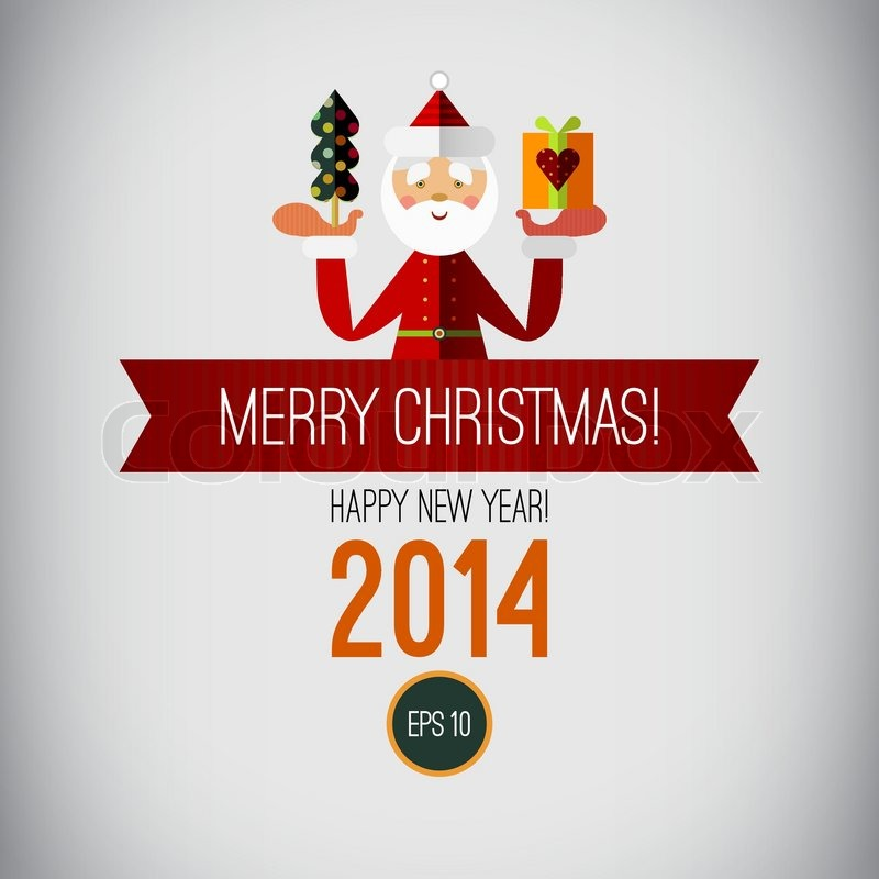 Merry Christmas Design Happy New Year 2014 Vintage
