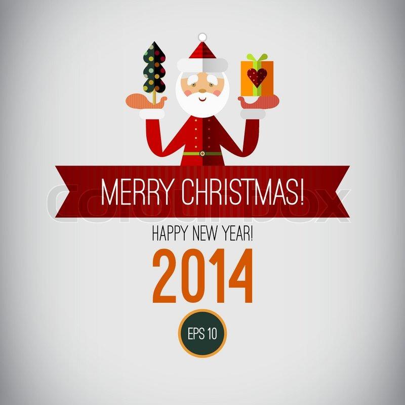 happy new year 2014 vintage christmas christmas tree santa ribbon isolated on white background christmas card design xmas banner christmas image