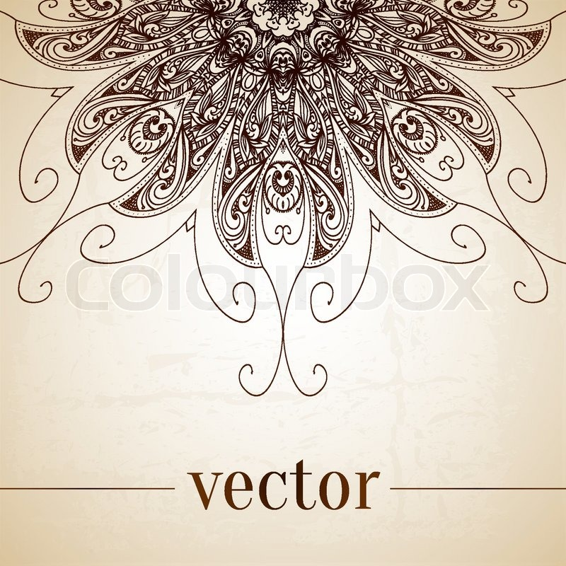 Vintage vector circle floral ornamental border. Lace ...