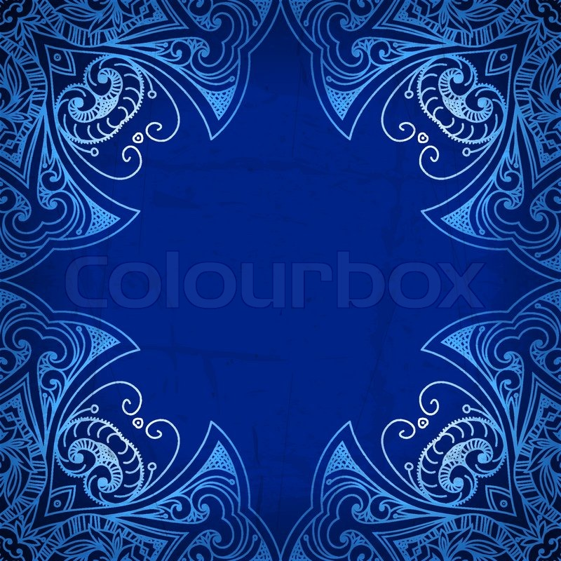 Abstract Vector Circle Floral Ornamental Border Lace Pattern Design White Ornament On Blue