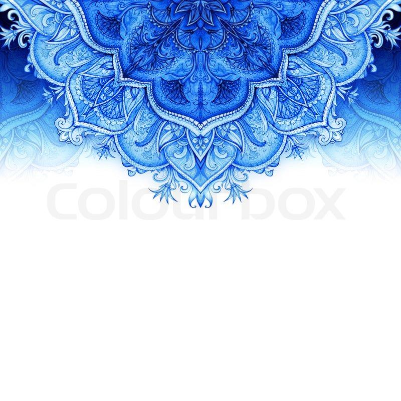 Retro Vintage Wedding Greeting Card Blue Background Or Invitation Decorative Elements Hand Drawn Floral Ornament