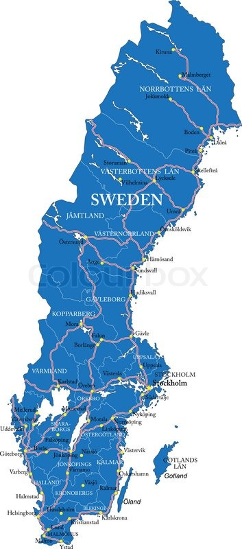 Highly Detailed Vector Map Of Sweden With Administrative Regions - Sweden map of cities
