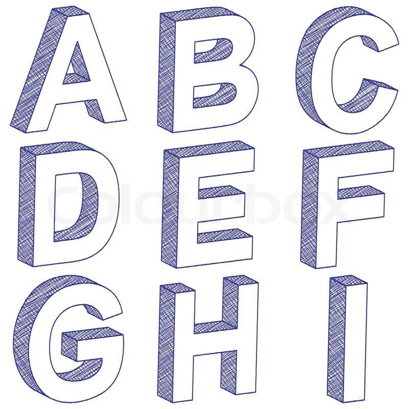 Zeichnung 3d Buchstaben A-I