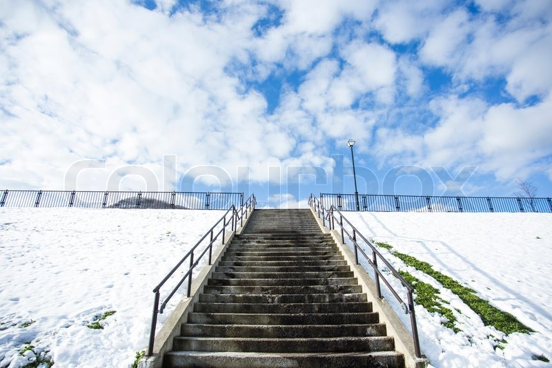 Stairway in park winter season with snow, stock photo