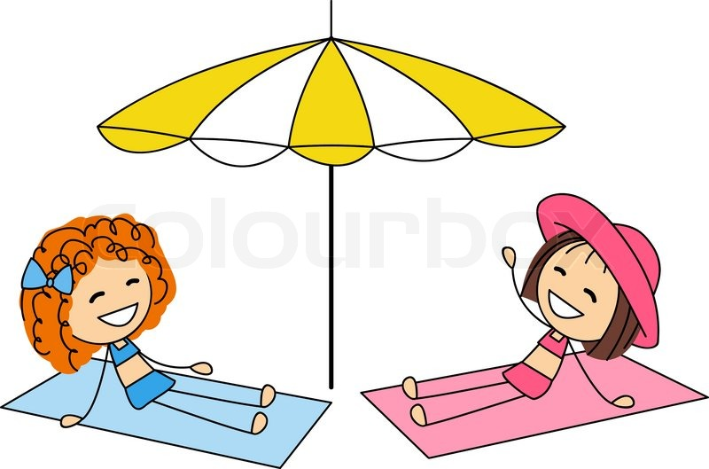 cute little girls sunbathing on the beach stock vector girl sunbathing clipart sunbathing clipart images