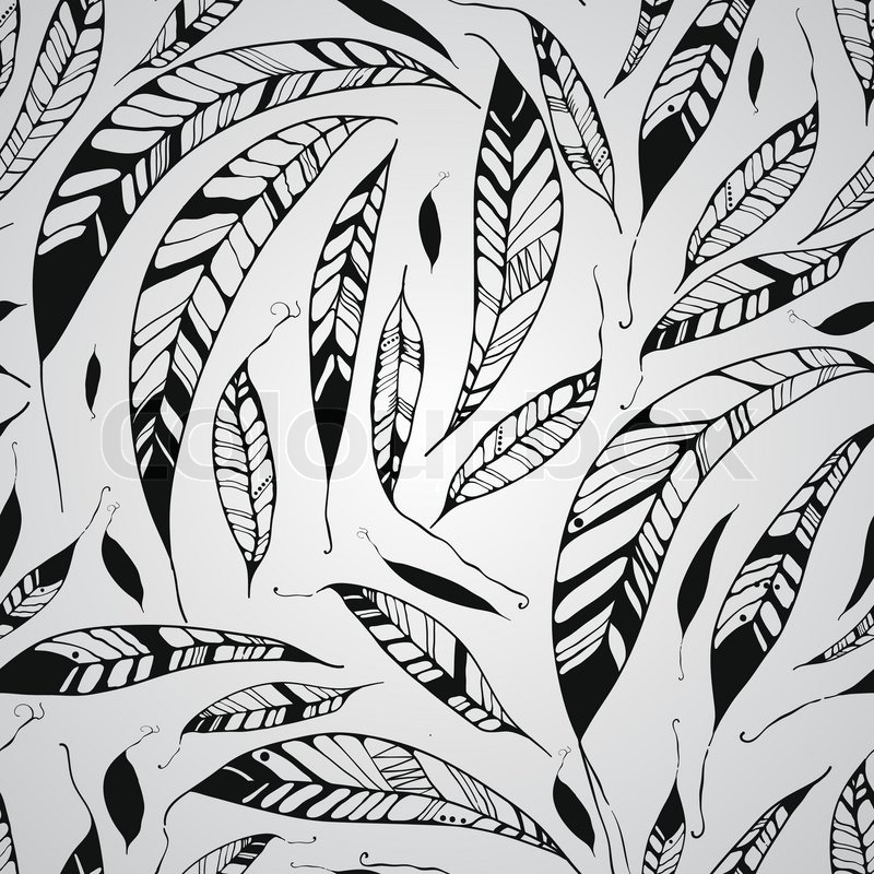 vector seamless pattern with feathers native american