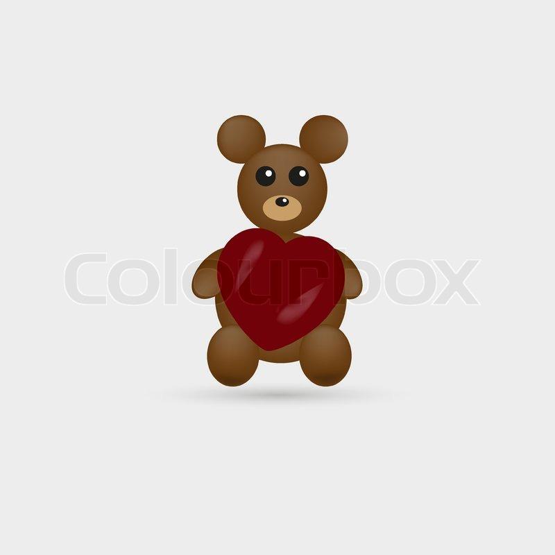 niedliche teddy bär mit herz  stockvektor  colourbox
